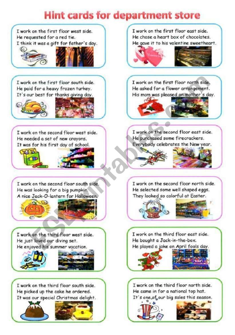 shopping on worksheet 2/2 worksheet