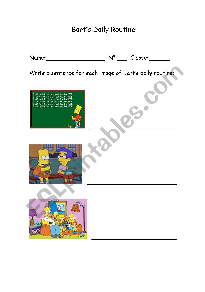 Bart´s routine worksheet