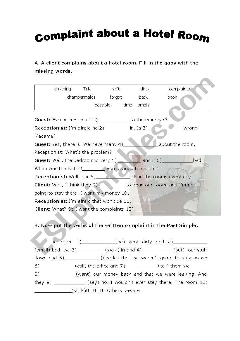 Complaints about a hotel room worksheet