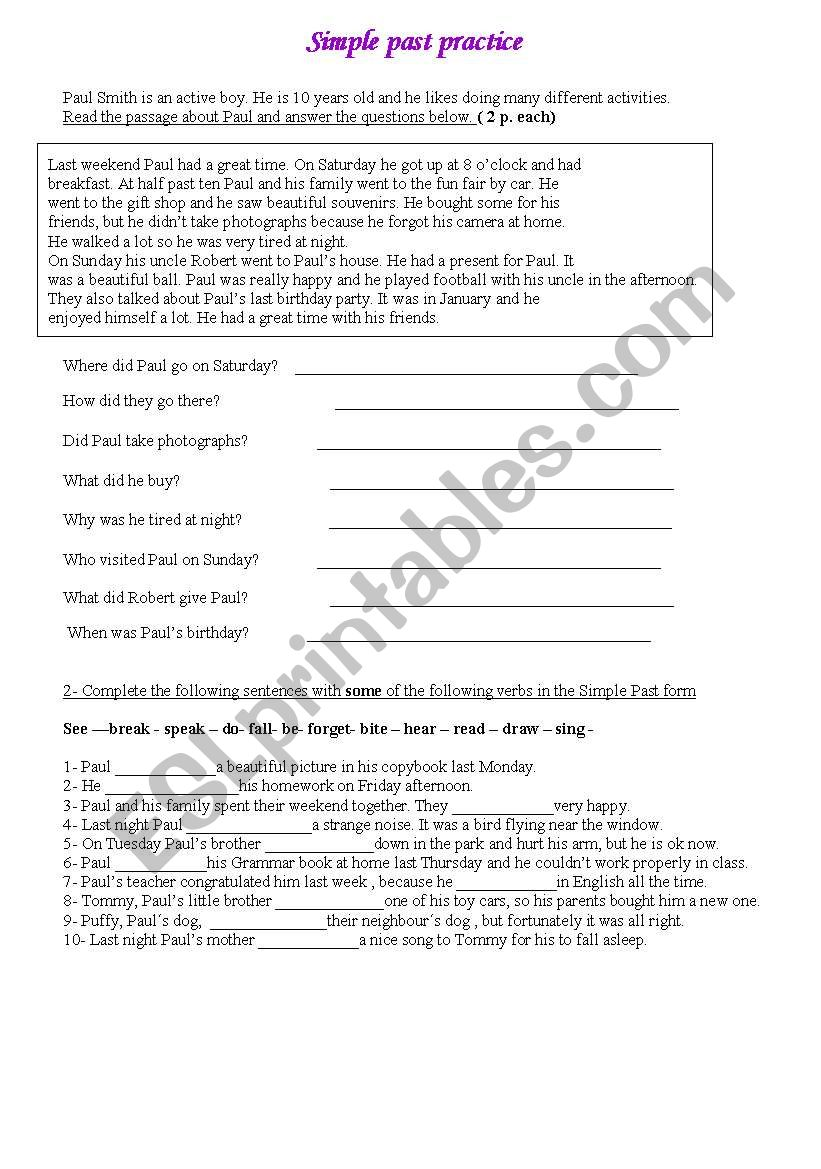 - Text With Questions And Simple Past Exercises - ESL Worksheet By