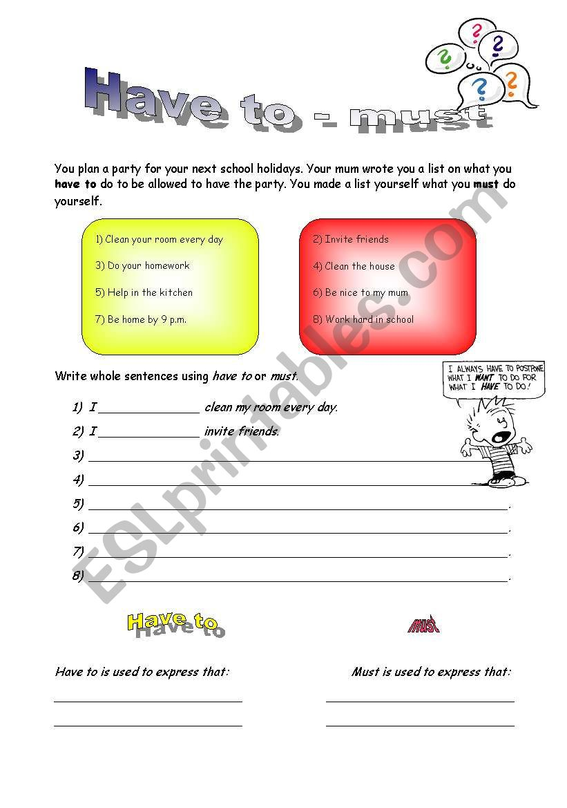 Have to - must worksheet