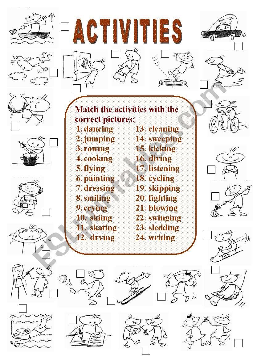 Activities (2 of  2) worksheet