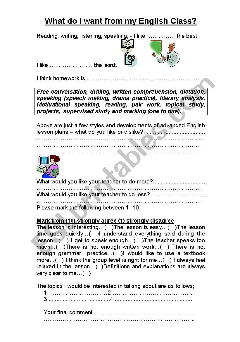 Student English Lesson Feedback Survey Form Esl