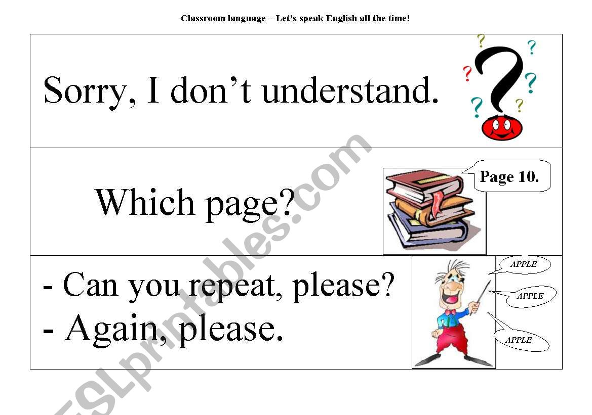 Classroom Language - Let´s speak English all the time