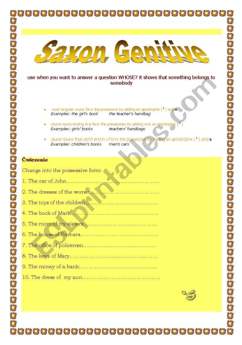 saxon genitive/ possessives worksheet