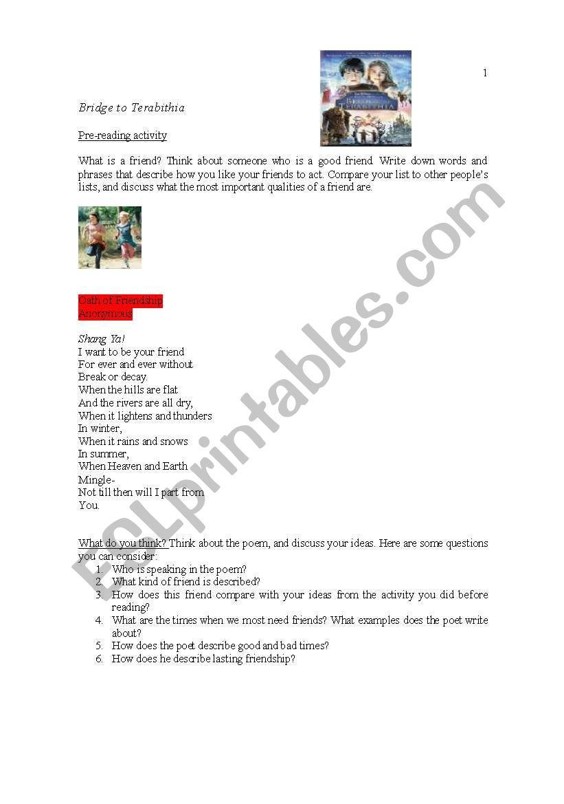 Bridge to terabithia lesson plans pdf