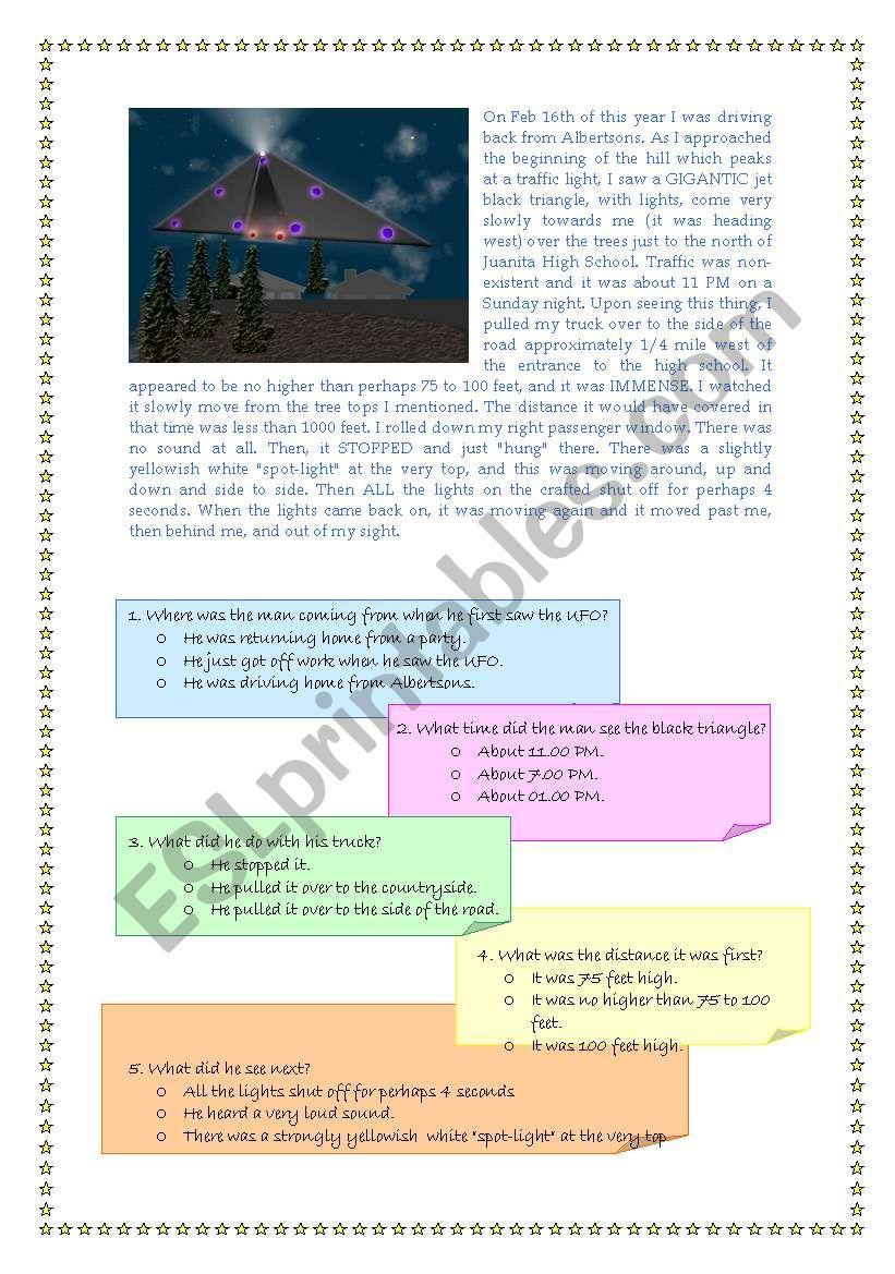 UFOs worksheet