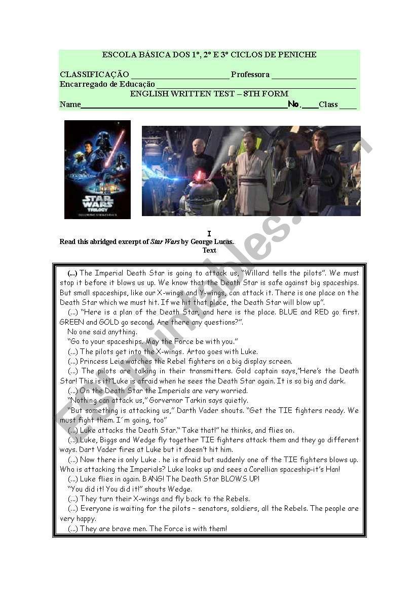 English Written test- cinema:Star wars