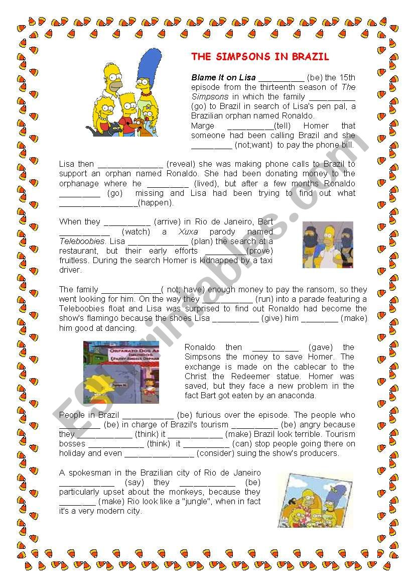 The Simpsons in Brazil - ESL worksheet by flaviart