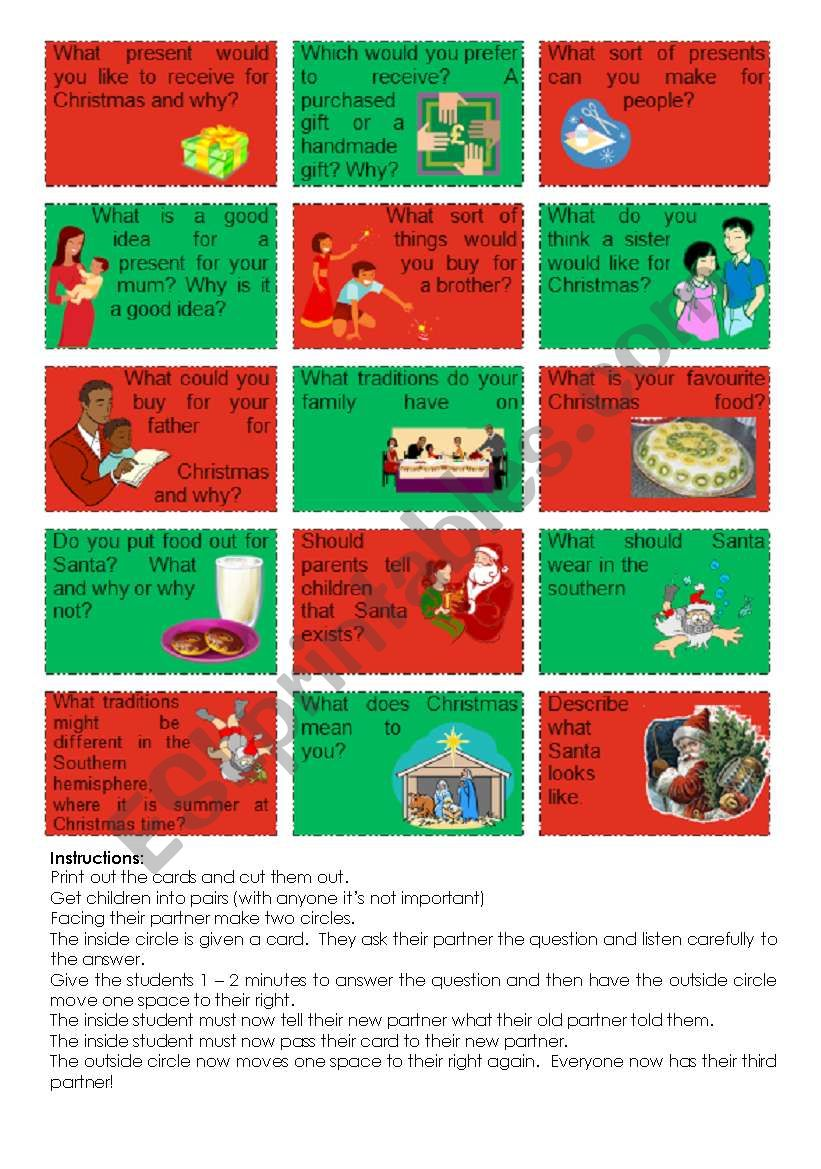 Christmas Conversation cards worksheet