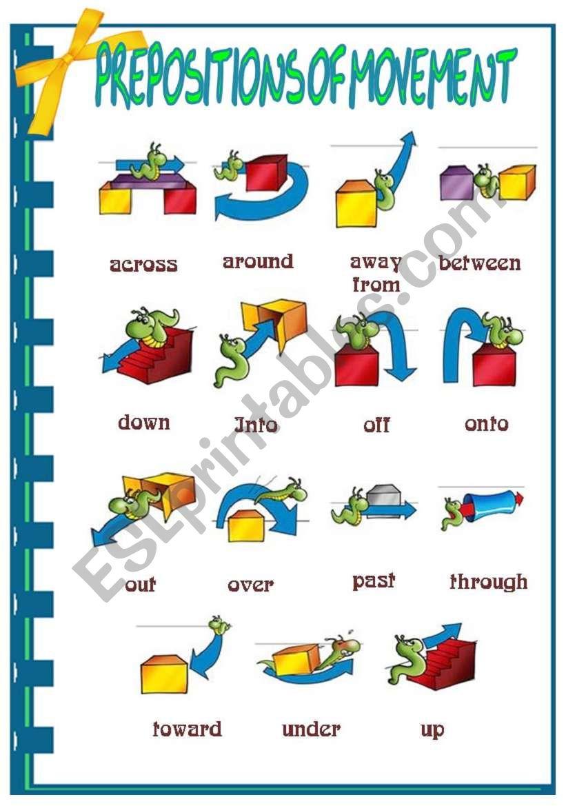 Preposition of movement worksheet