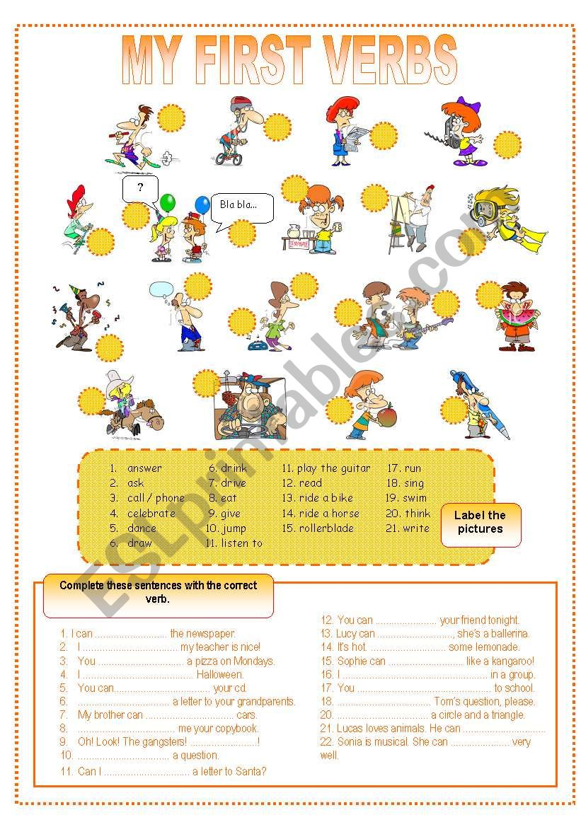 My first verbs worksheet