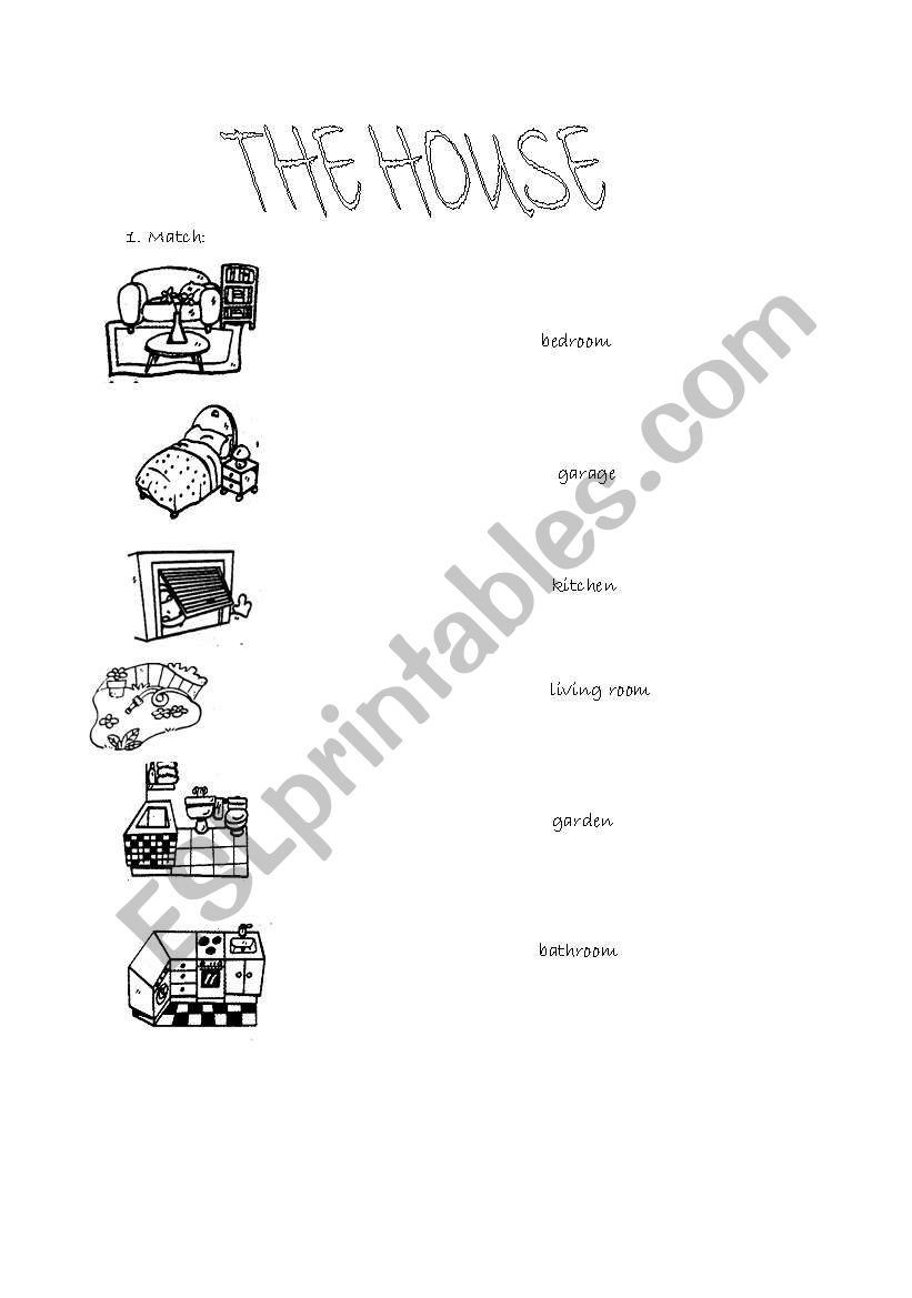 Rooms in the house worksheet