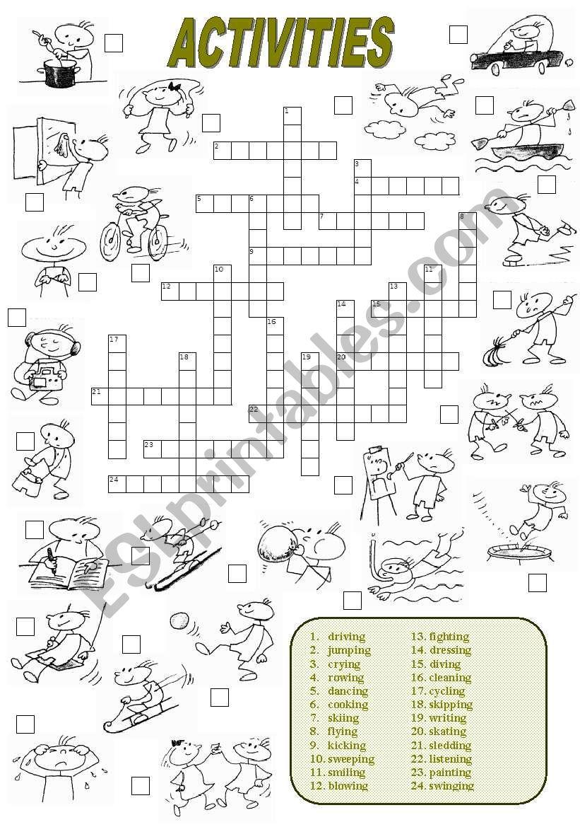 Activities Crossword (2 of 2) worksheet