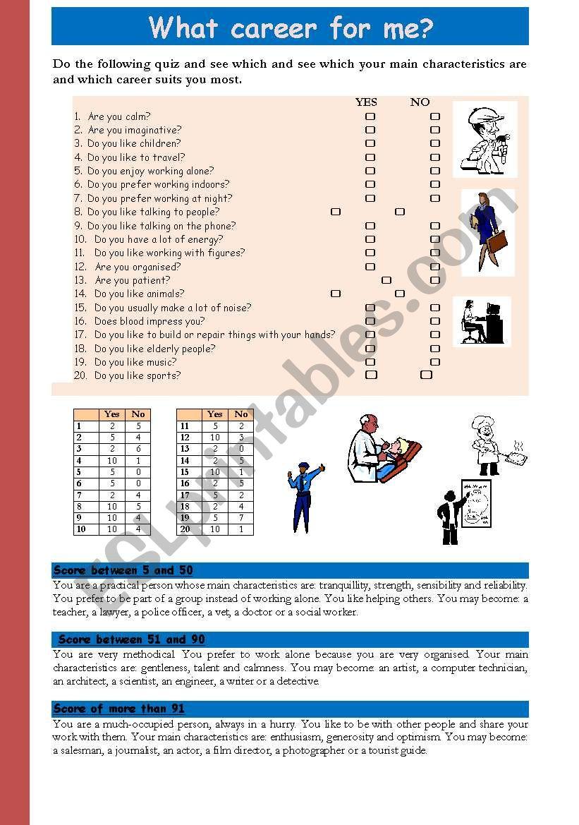 what  career for me worksheet