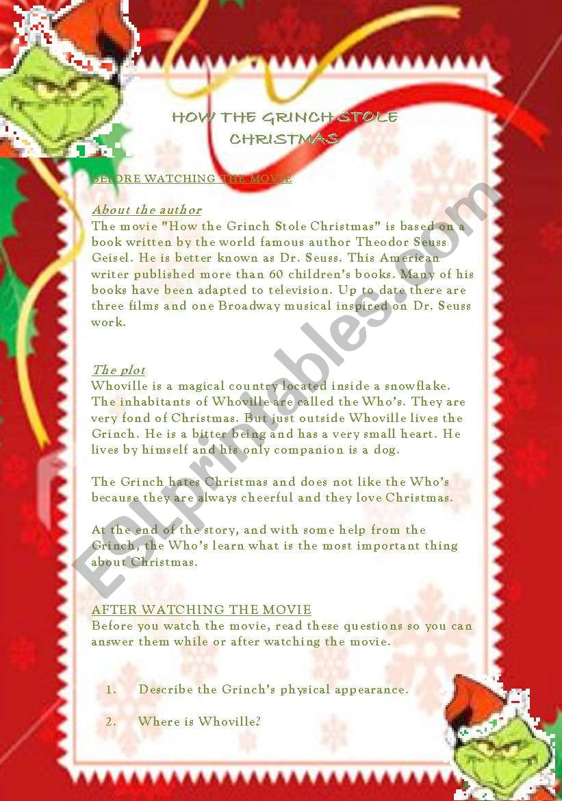how the grinch stole christmas lesson plan 2 pages - How The Grinch Stole Christmas Pdf
