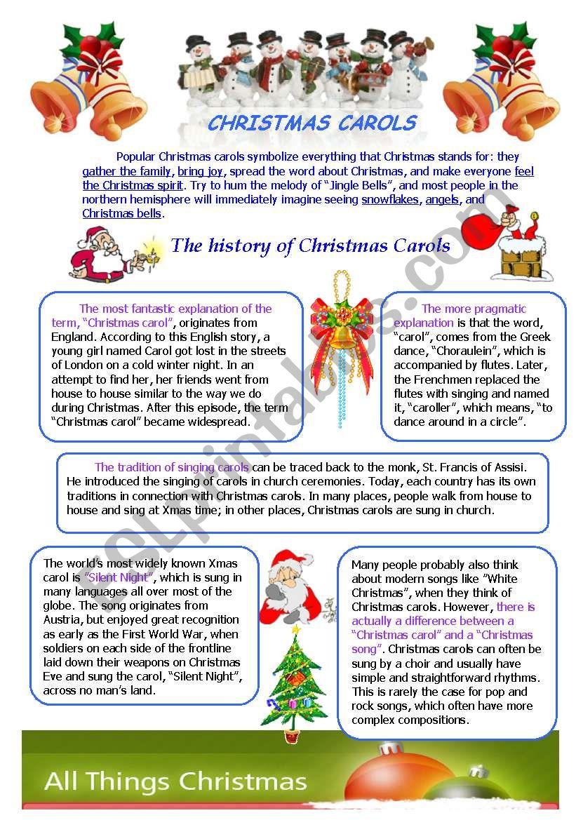 CHRISTMAS CAROLS - ESL worksheet by Lidukas