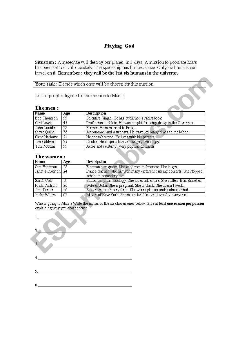 Playing God - ESL worksheet by francoishudon