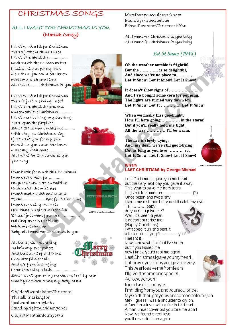 Pop songs for Christmas worksheet