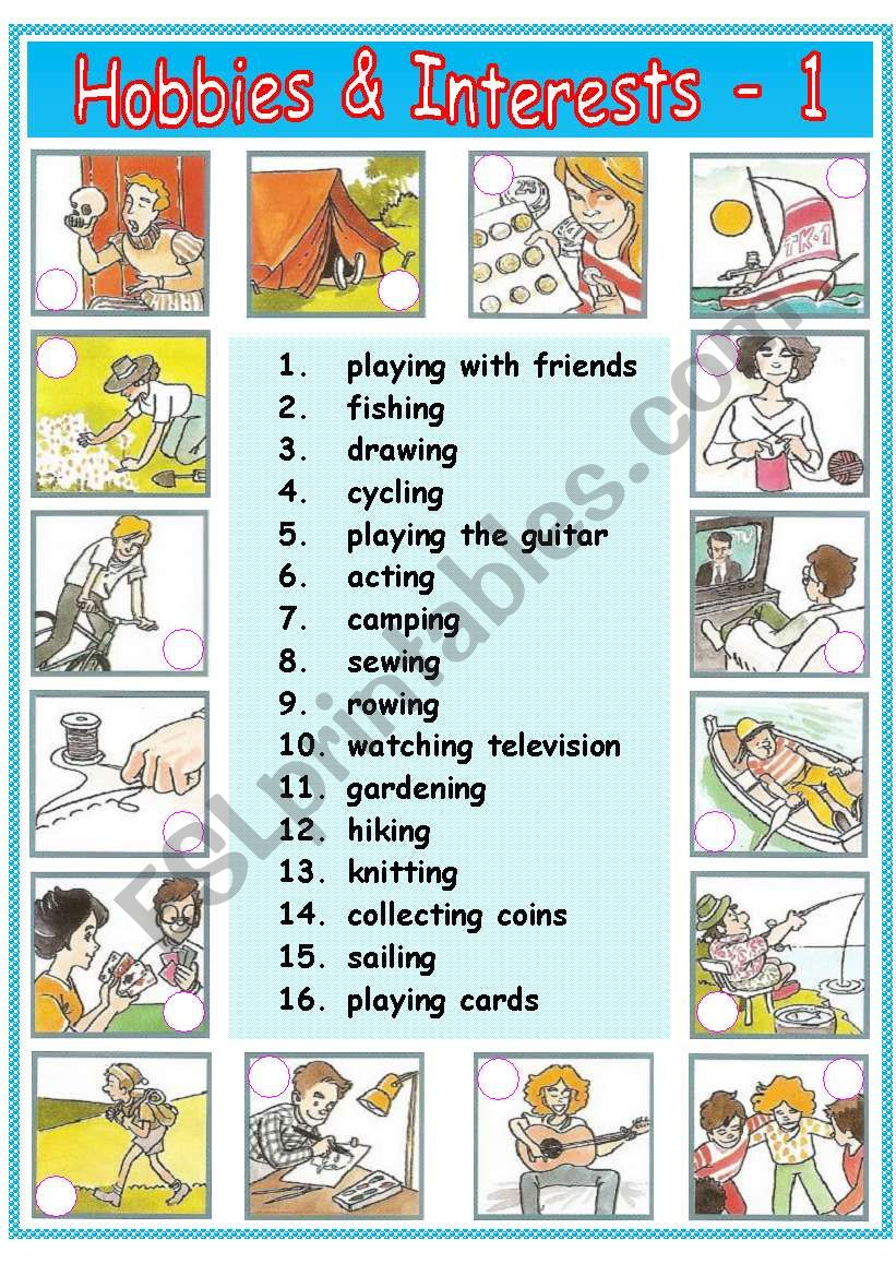 Hobbies & Interests - 1 / 2 worksheet