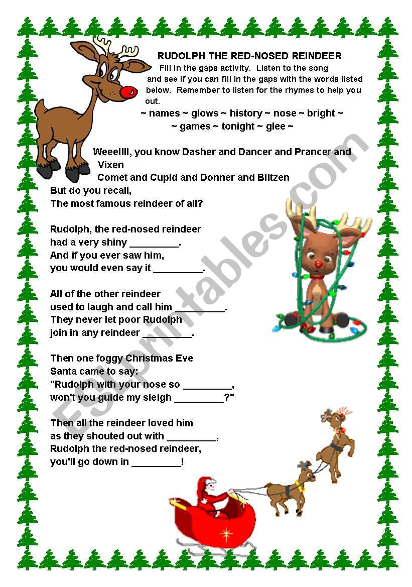 graphic regarding Words to Rudolph the Red Nosed Reindeer Printable identified as Rudolph the Purple-nosed Reindeer Music - ESL worksheet by way of Vickiii