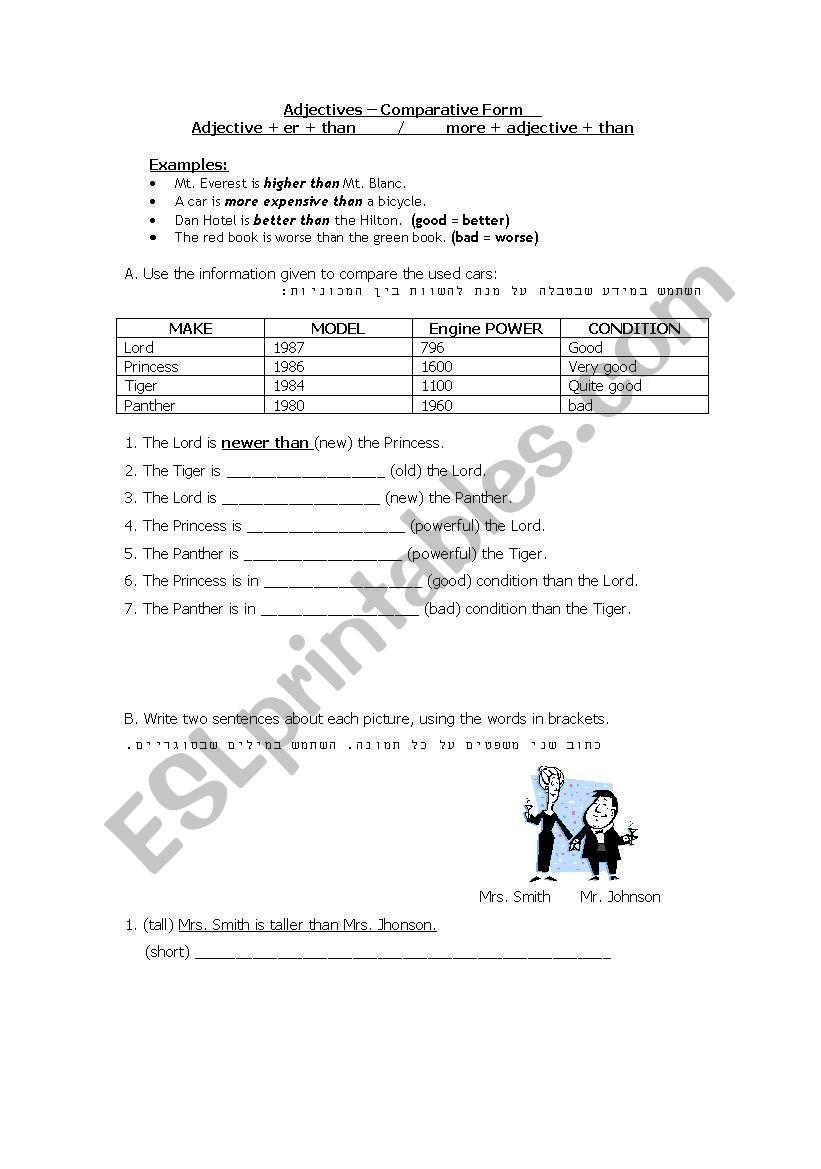 Adjectives – Comparative Form worksheet