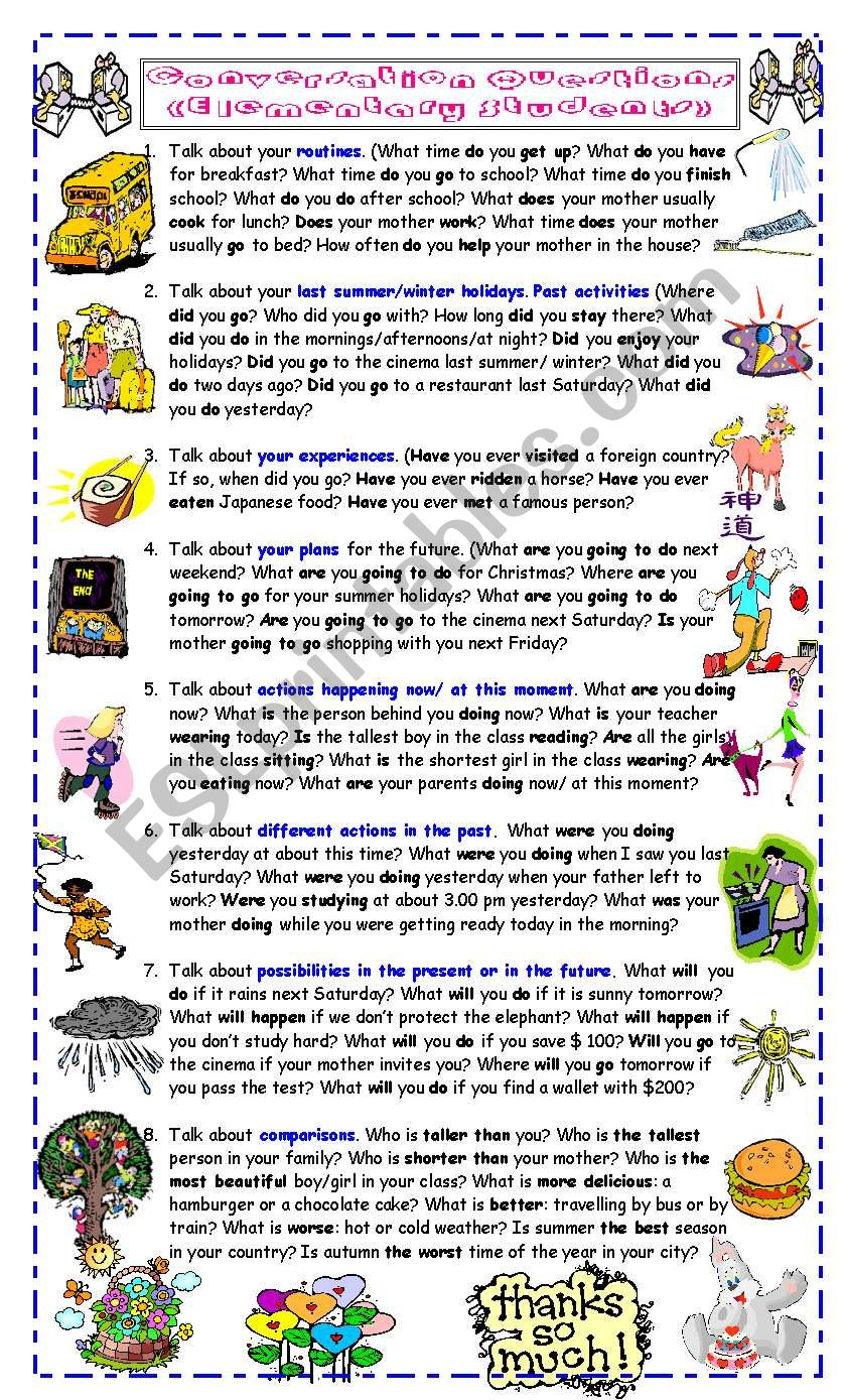 Conversation Questions for Elementary Students
