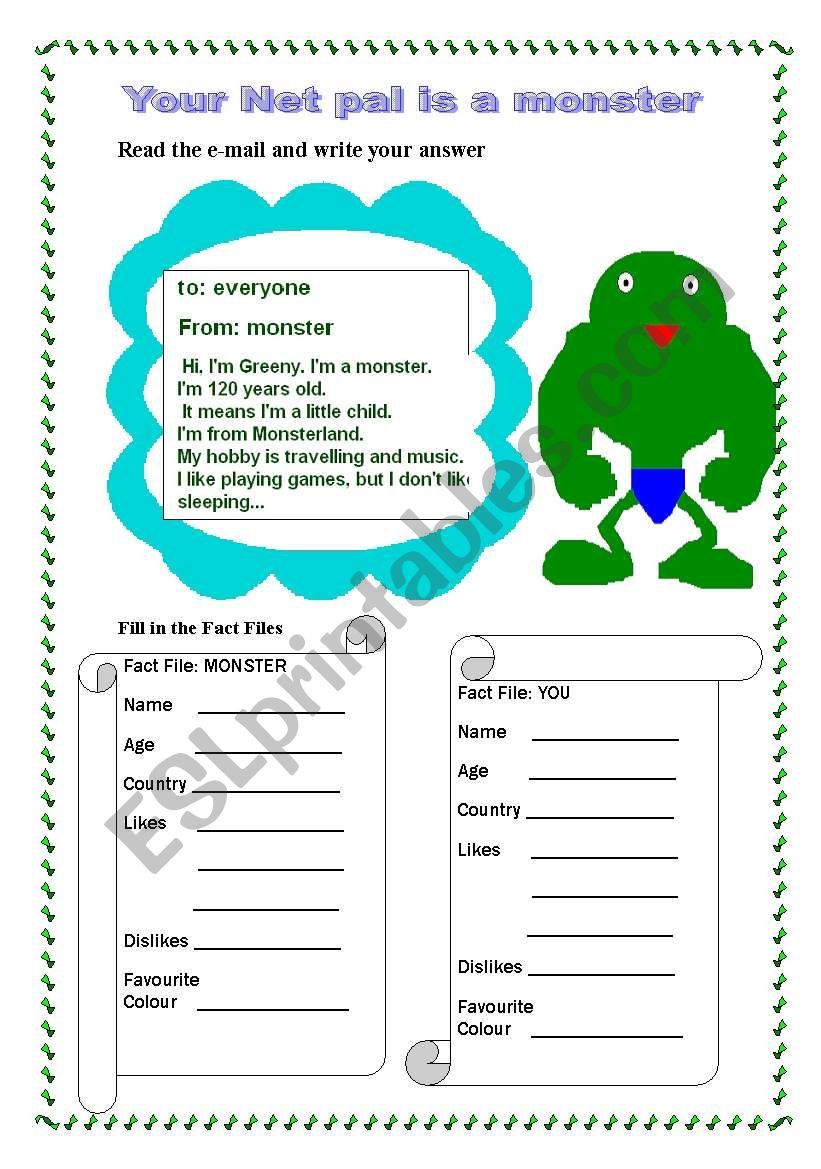 English worksheets: You Net pal is a monster