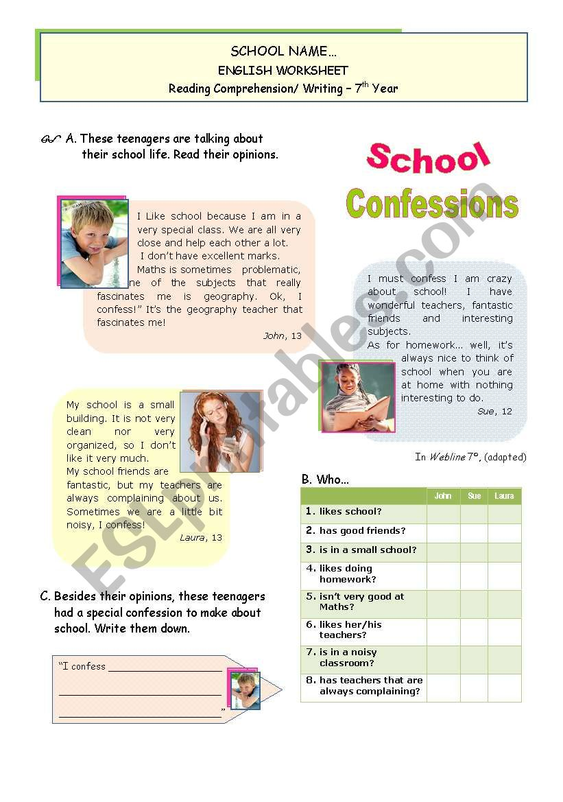 School Confessions  - Reading + writing for Upper Elementart/ Lower Intermediate Students