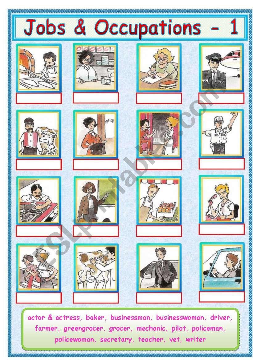 Jobs & Occupations - 1/3 worksheet