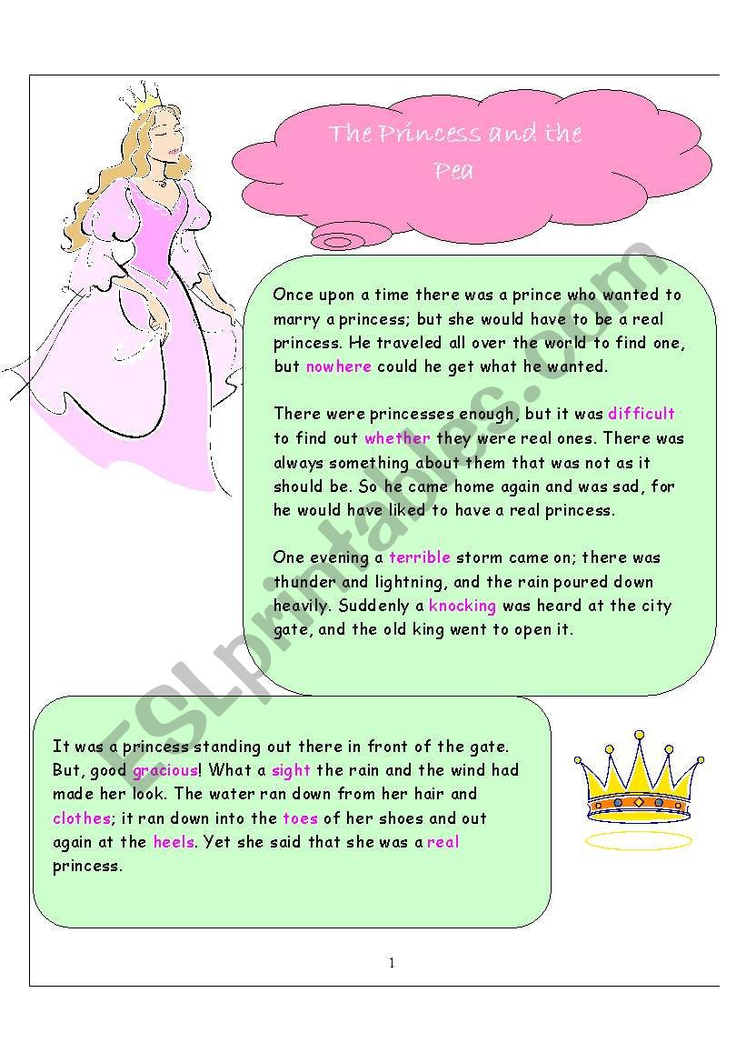 The Princess and the Pea worksheet