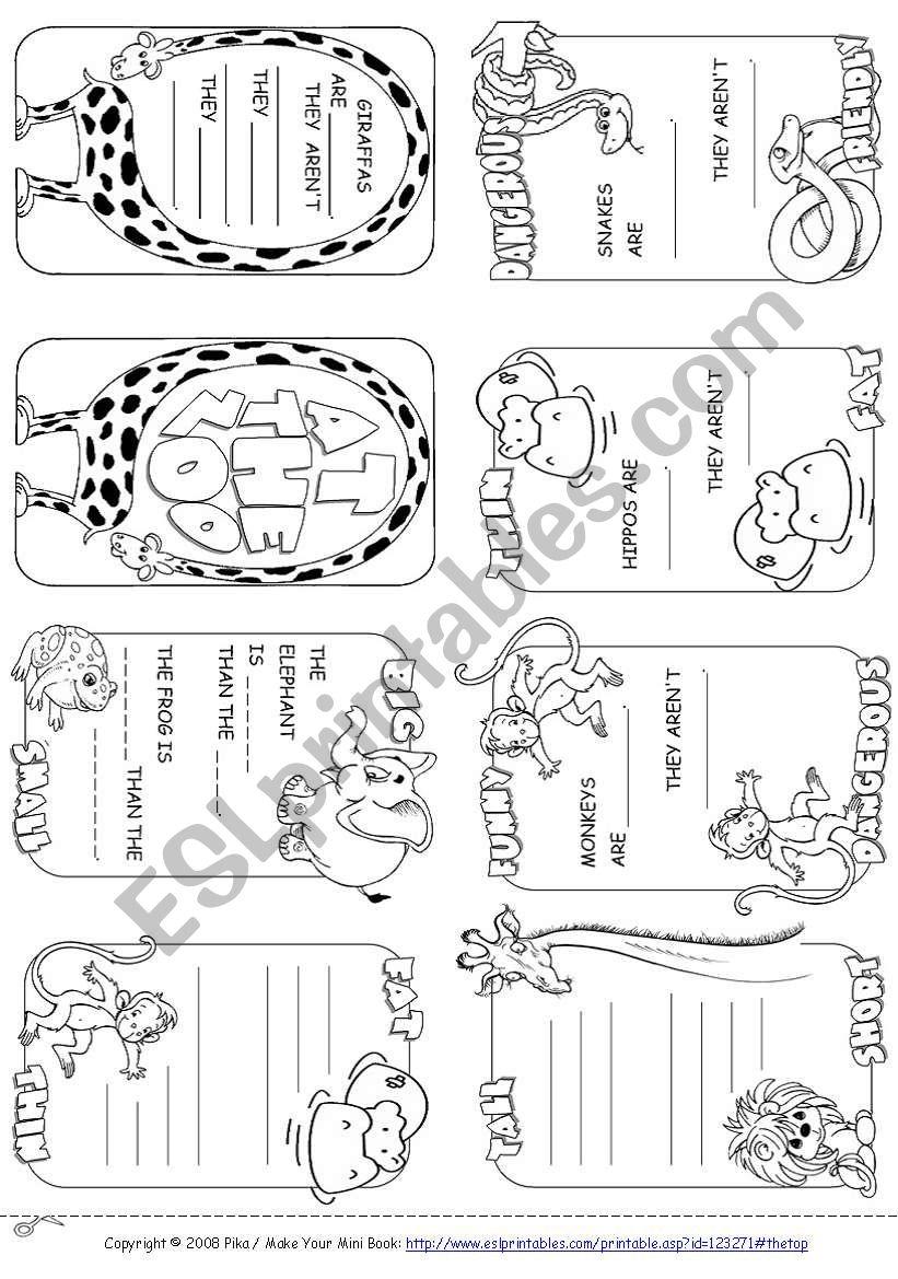 Describing Animals Mini Book worksheet