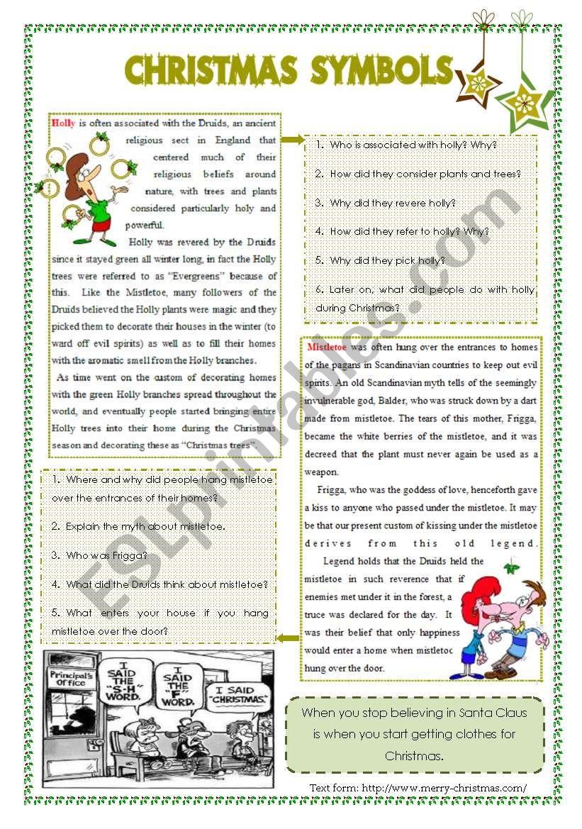 Christmas symbols: plants worksheet