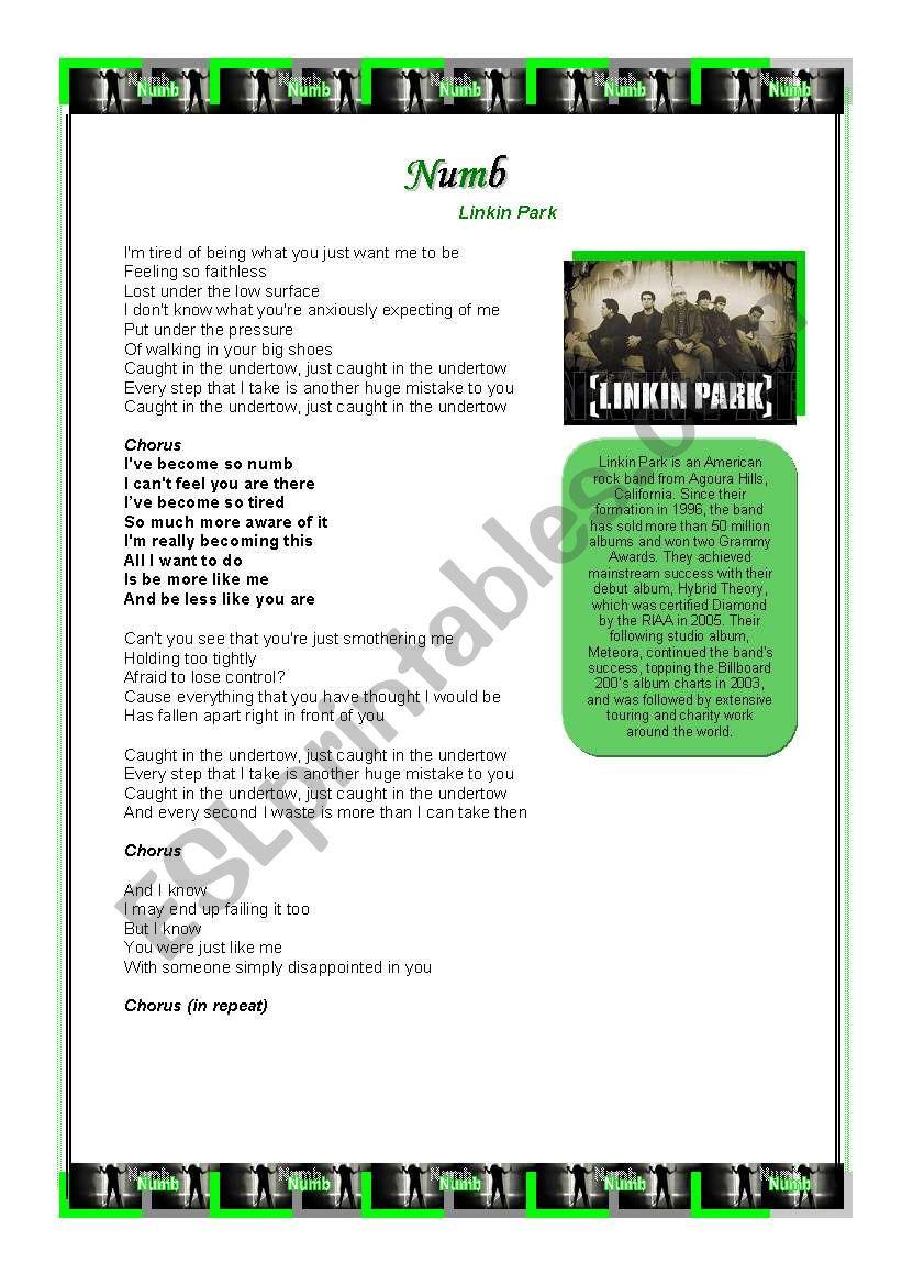 Numb lyrics download