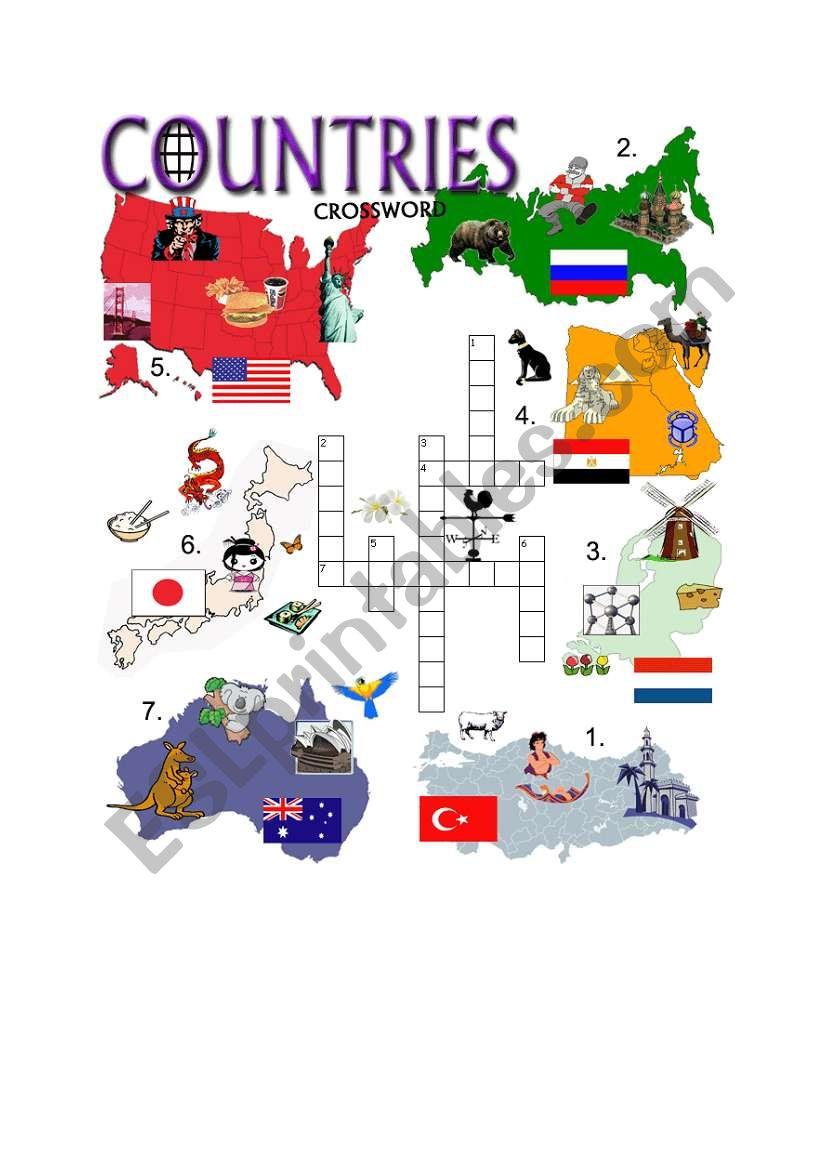 COUNTRIES CROSSWORD - PART 2 worksheet