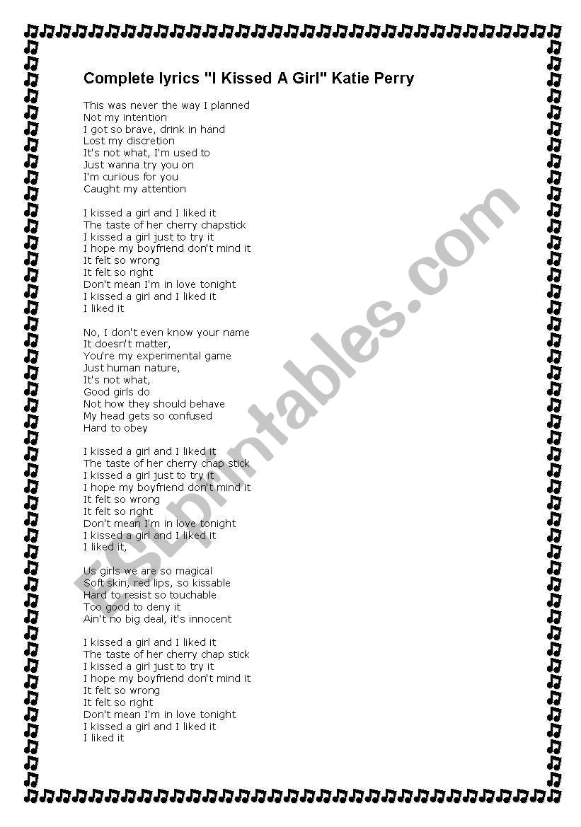 I kissed a girl-Katie Perry song worksheet (2 pages with