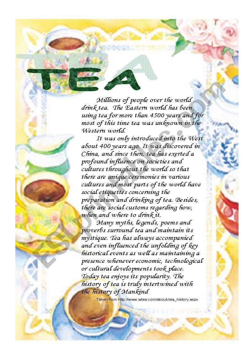 Reading: tea   worksheet