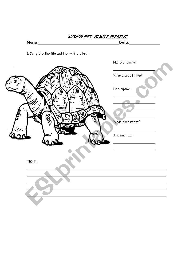 Animal worksheets : Simple Present and description