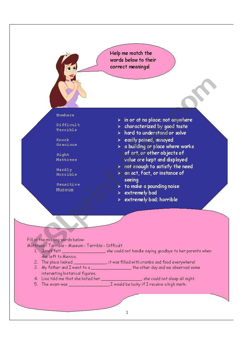 Worksheet for The Princess and the Pea