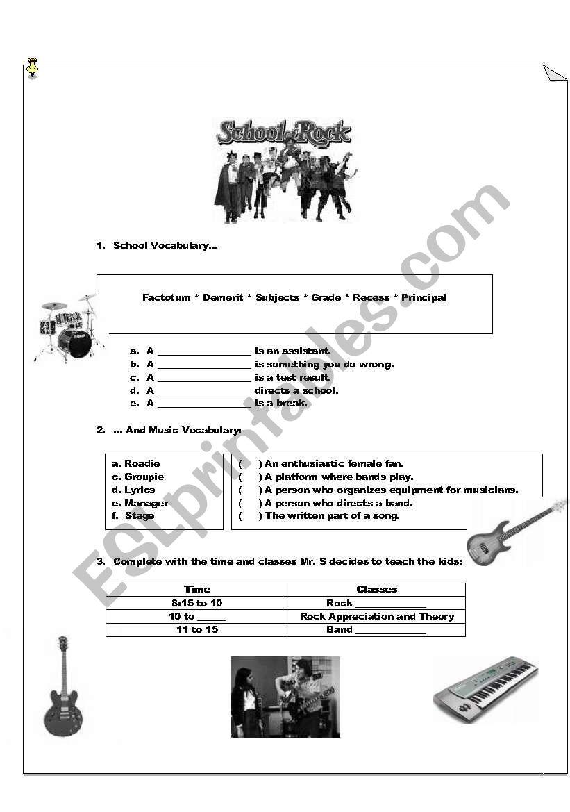 SCHOOL OF ROCK worksheet