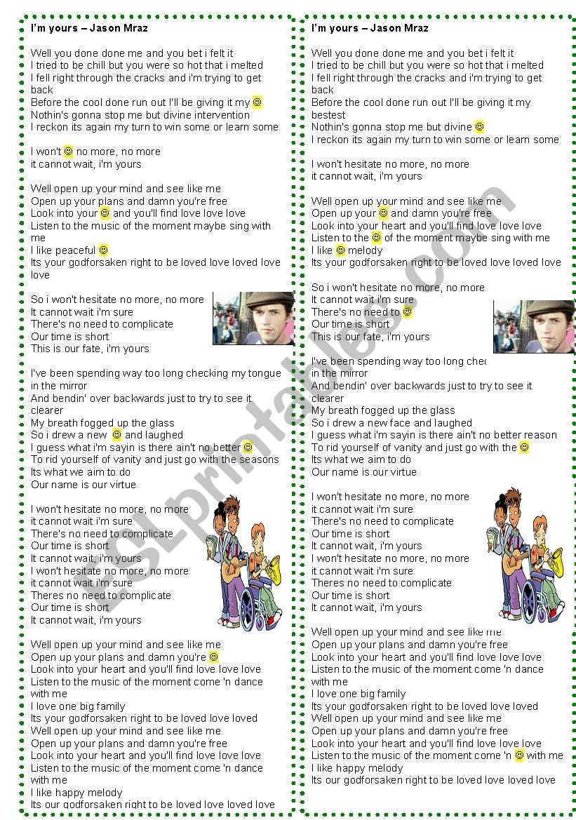 Song: I´m yours - Jason Mraz worksheet