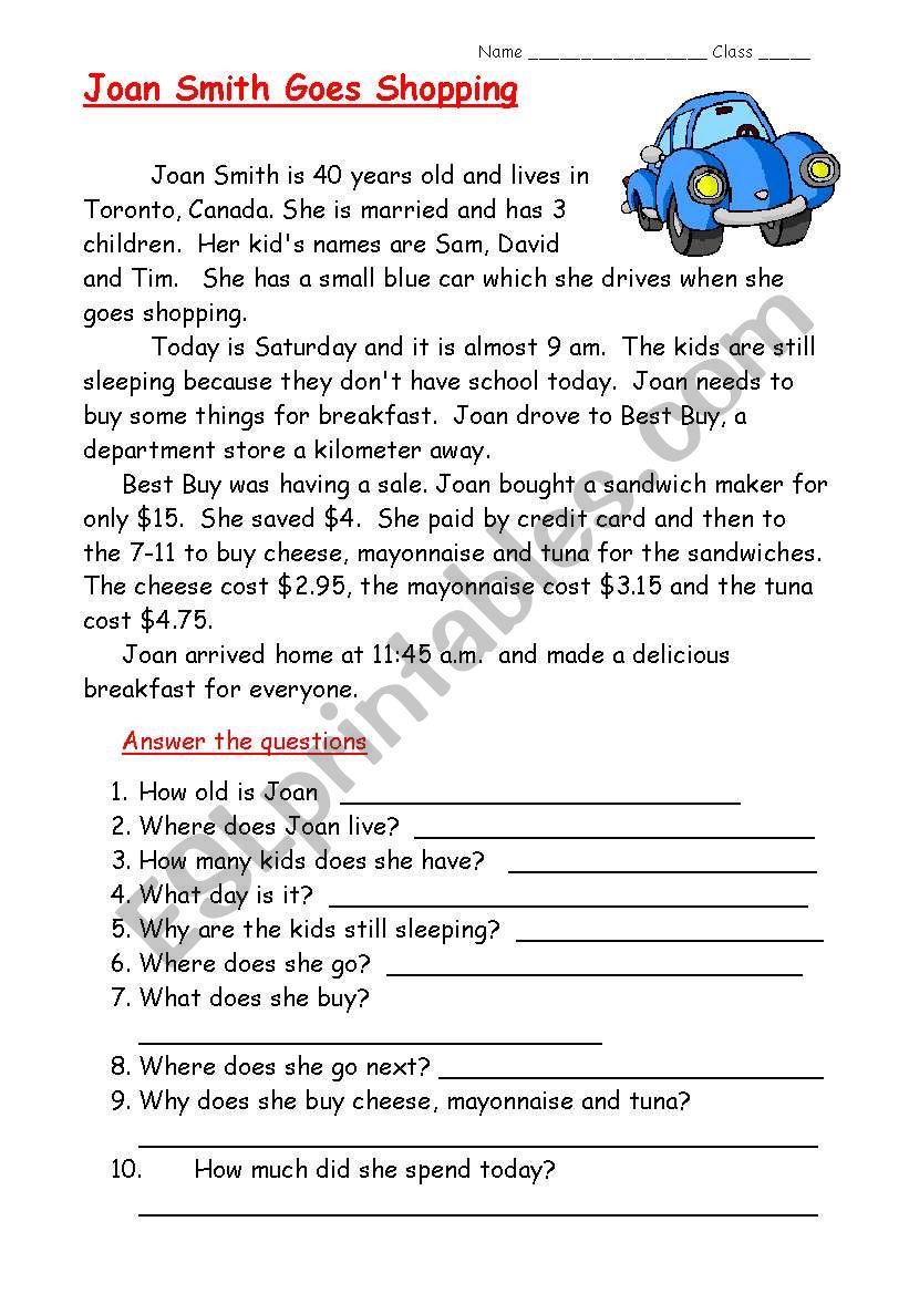 Easy Reading ESL Worksheet By Eng789
