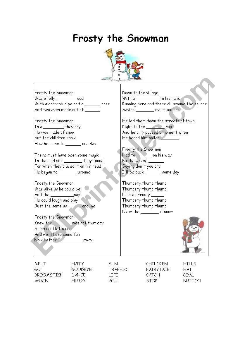 FROSTY THE SNOWMAN GAP FILL worksheet