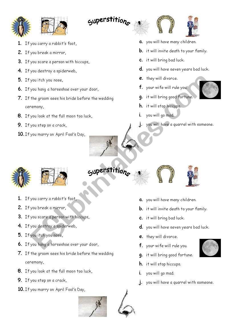 superstitions - ESL worksheet by rozerin