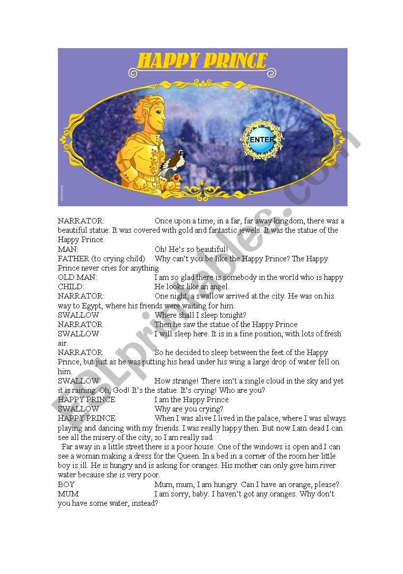 The Happy Prince Script Esl Worksheet By Saudara