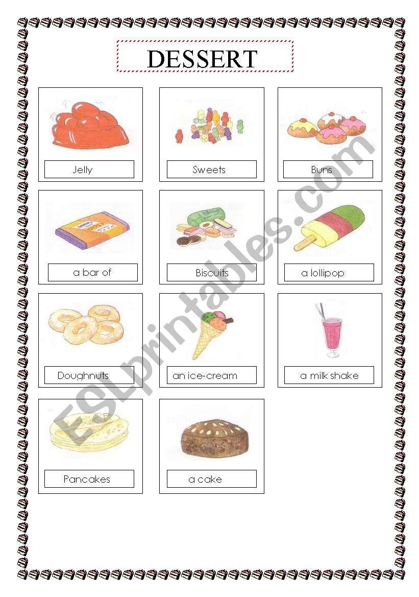 food (dessert) voc list  worksheet