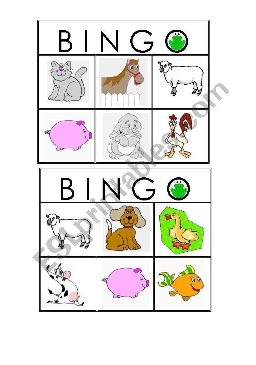farm animals bingo worksheet