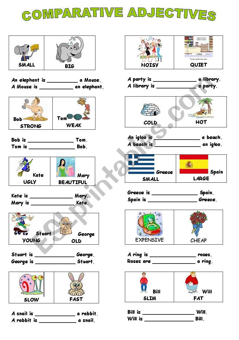Adjectives exercises worksheets pdf