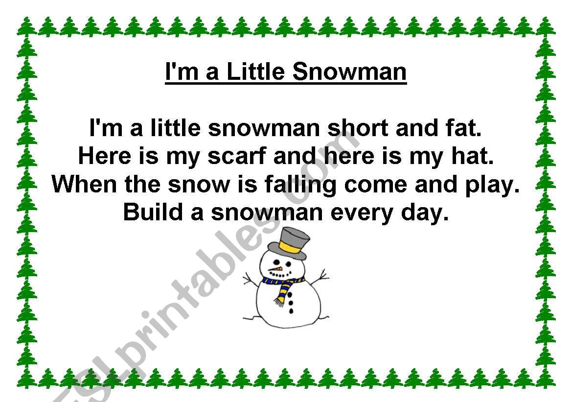 photograph regarding Chubby Little Snowman Poem Printable titled I´M A Small SNOWMAN Music - ESL worksheet as a result of smarcos3
