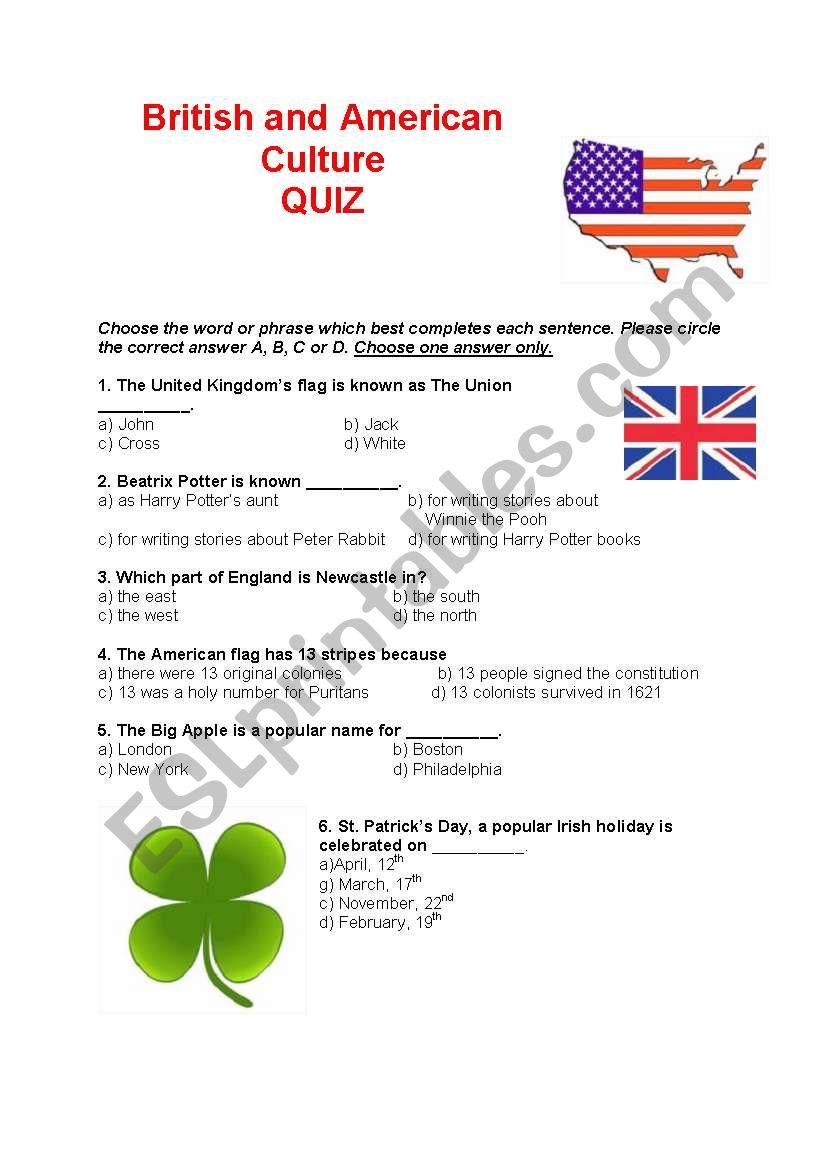 British and American culture QUIZ